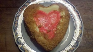 Heather's to die for Valentine cheese cake.